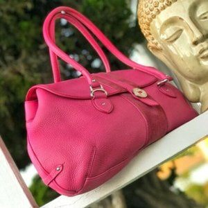 Passion Pink Cole Haan Leather & Suede Hobo Bag